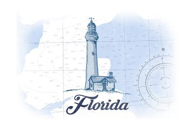 Florida - Lighthouse - Blue - Coastal Icon-Lantern Press-Art Print