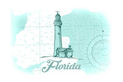 Florida - Lighthouse - Teal - Coastal Icon-Lantern Press-Art Print