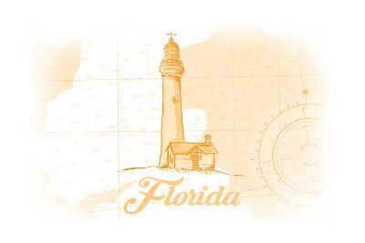 Florida - Lighthouse - Yellow - Coastal Icon-Lantern Press-Art Print