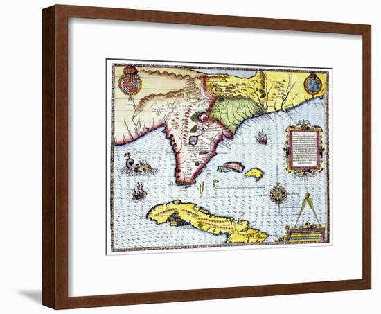 Florida: Map, 1591-Theodor de Bry-Framed Giclee Print