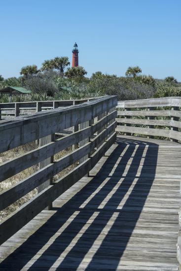 Florida, New Smyrna Beach, Smyrna Dunes Park, Boardwalk, Ponce Inlet Lighthouse-Jim Engelbrecht-Photographic Print