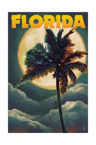 Florida - Palm Tree and Full Moon-Lantern Press-Art Print