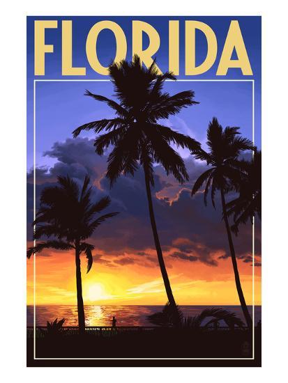 Florida - Palms and Sunset-Lantern Press-Art Print