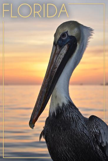 Florida - Pelican-Lantern Press-Art Print