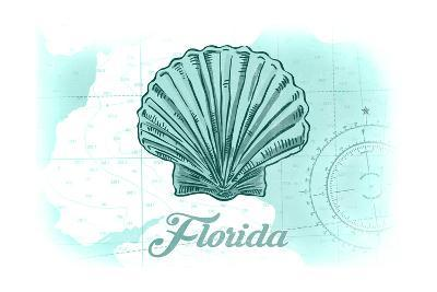 Florida - Scallop Shell - Teal - Coastal Icon-Lantern Press-Art Print