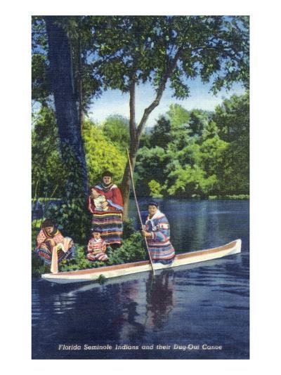 Florida - Seminole Indians by a Dug-Out Canoe-Lantern Press-Art Print