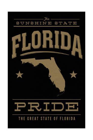 Florida State Pride - Gold on Black-Lantern Press-Art Print