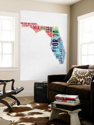 Florida Watercolor Word Cloud-NaxArt-Wall Mural