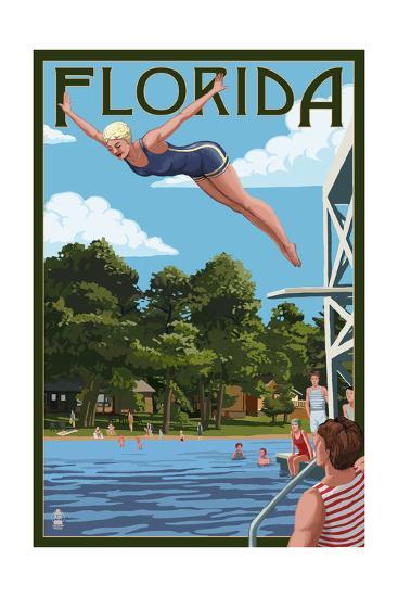 Florida - Woman Diving and Lake-Lantern Press-Art Print