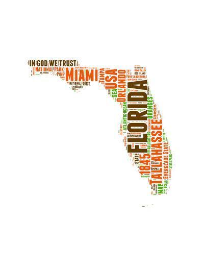 Florida Word Cloud Map-NaxArt-Art Print
