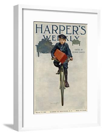 Florist's Delivery Boy on a Bicycle, Harper's Weekly Cover for March 11, 1911