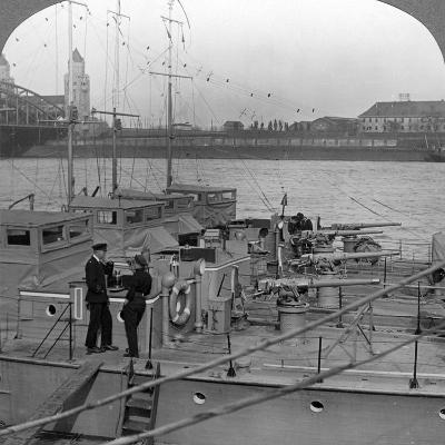 Flotilla of Motor Boats on the Rhine, C1918-1919--Photographic Print