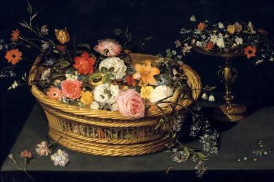Flower Basket and Goblet in Gilded Silver, Still Life, 17th Century-Jan Bruegel the Younger-Giclee Print