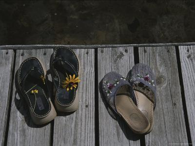 Flower Bedecked Sandals Rest Upon a Dock on Star Lake-Todd Gipstein-Photographic Print