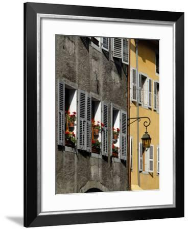 Flower Bedecked Shuttered Windows, Rue Sainte-Claire, Annecy, Rhone Alpes, France, Europe-Richardson Peter-Framed Photographic Print