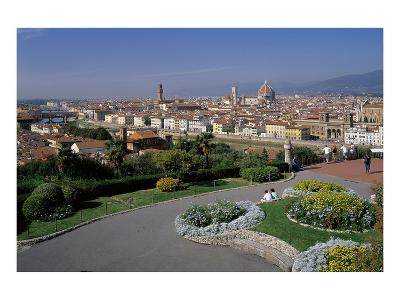 Flower beds at the Piazzale Michelangelo with view of the city, Florence, Tuscany, Italy--Art Print