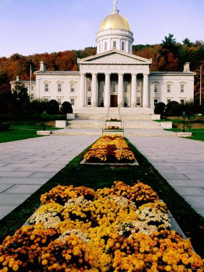 Flower Beds in Front of Vermont State Capitol, Montpelier, Vermont-John Elk III-Photographic Print