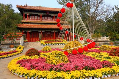 Flower Beds in Jingshan Park, Coal Hill, Beijing, China