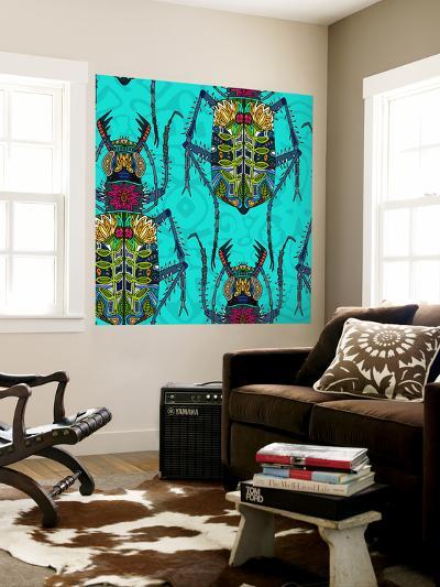 Flower Beetle Turquoise-Sharon Turner-Wall Mural