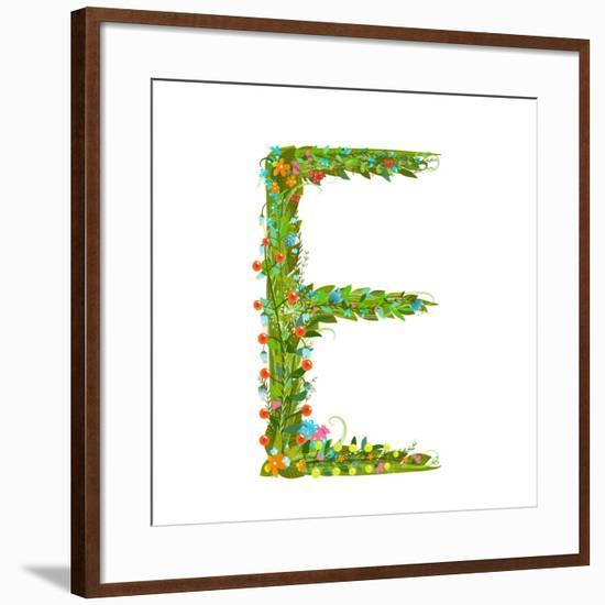 Flower Blossom Decorative Botanical Elegant Alphabet Letter E. Flower ABC Sign E. Floral Summer Col-Popmarleo-Framed Art Print