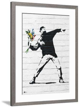Flower Bomber-Banksy-Framed Art Print