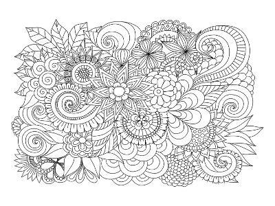 Flower Bouquet Coloring Art--Coloring Poster