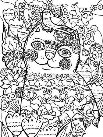 Flower Cat 2 Line Art Giclee Print By Oxana Zaika