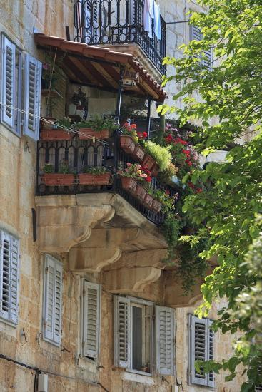 Flower Covered Balcony on Old Stone House, Bol, Brac Island, Dalmatian Coast, Croatia, Europe-John Miller-Photographic Print