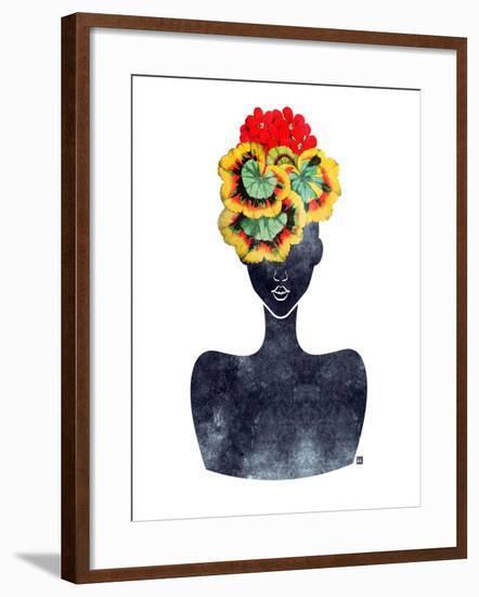 Flower Crown Silhouette IV-Tabitha Brown-Framed Art Print