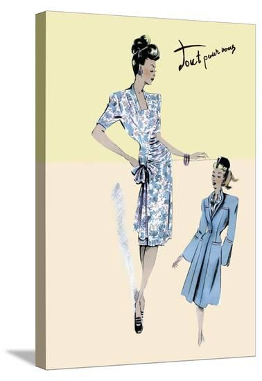Flower Dress with Jacket, 1947--Stretched Canvas Print
