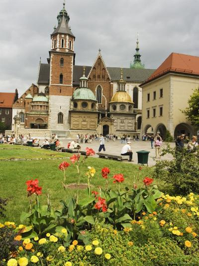 Flower Garden and Wawel Cathedral Dating from 14th Century, Wawel Hill, Old Town, Krakow (Cracow)-Christian Kober-Photographic Print