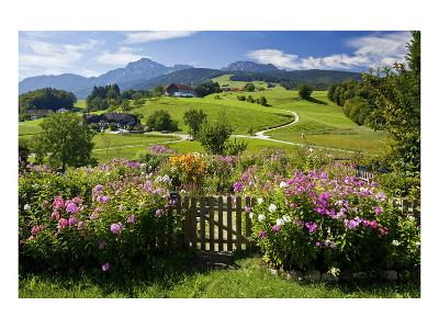 Flower Garden at Hoeglwoerth Monastery, Upper Bavaria, Bavaria, Germany--Art Print