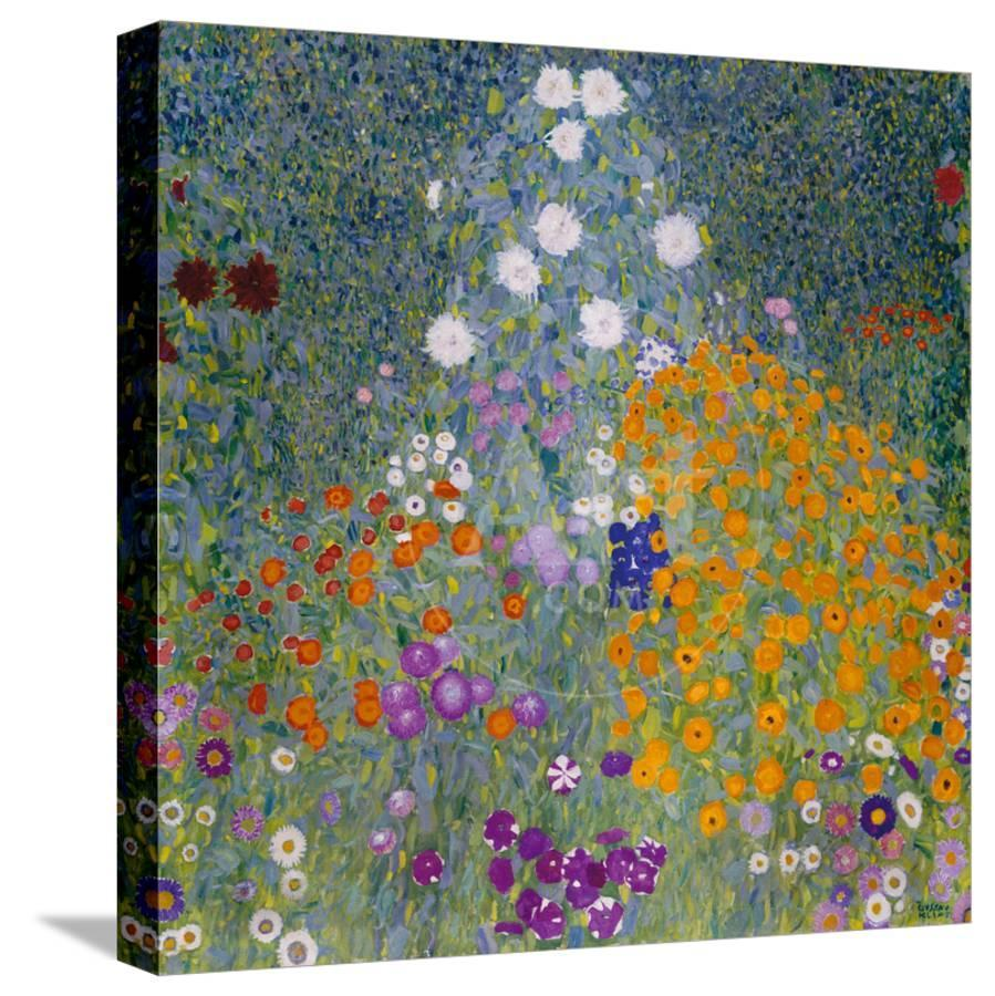 flower garden stretched canvas print by gustav klimt   art