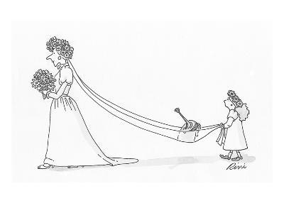 Flower girl holding brides train which is carrying a watering can. - Cartoon-J.P. Rini-Premium Giclee Print