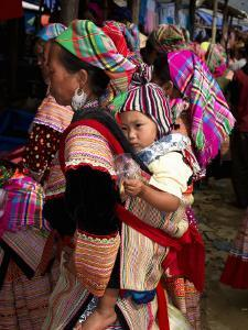 Flower Hmong Woman Carrying Baby on Her Back, Bac Ha Sunday Market, Lao Cai Province, Vietnam