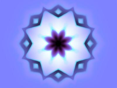 Flower-Like Fractal Design Within Star on Blue Background-Albert Klein-Photographic Print
