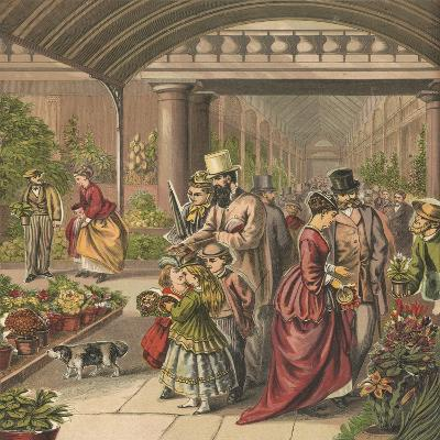Flower Market-English School-Giclee Print