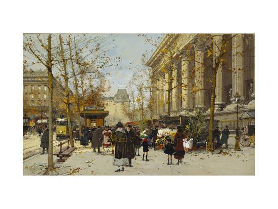 Flower Market-Eugene Galien-Laloue-Giclee Print