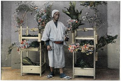Flower Merchant in Japan, C1890-Charles Gillot-Giclee Print