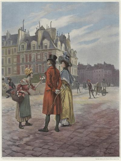 Flower Seller in Pont-Neuf-Georges Jules Auguste Cain-Giclee Print