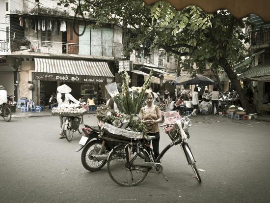Flower Seller in the Old Quarter, Hanoi, Vietnam-Jon Arnold-Photographic Print