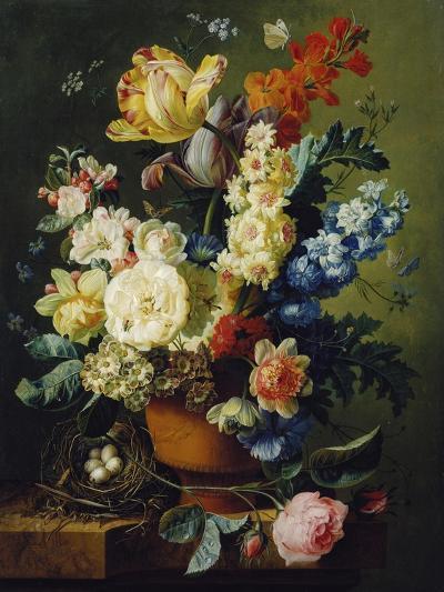 Flower Still Life with Bird's Nest, 1785-Paul Theodor van Brussel-Giclee Print