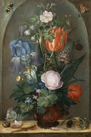 Flower Still Life with Two Lizards, 1603-Roelant Savery-Giclee Print