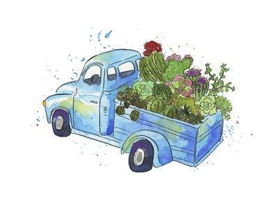 Flower Truck I-Catherine McGuire-Art Print