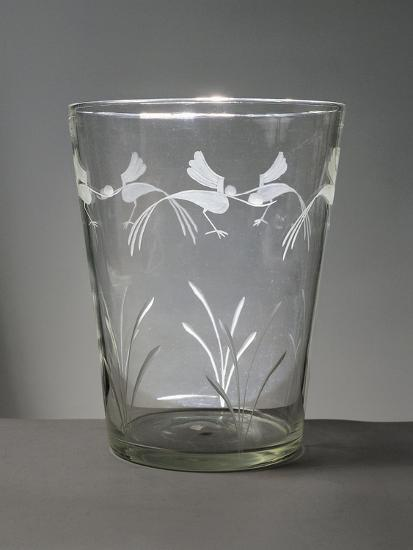Flower Vase in White Glass with Engravings around the Rim Depicting Marsh Grasses and Wading Birds--Giclee Print