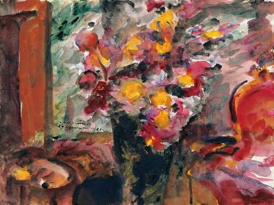 Flower Vase on a Table, 1922-Lovis Corinth-Giclee Print