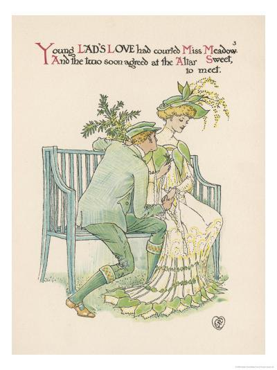 Flower Wedding Described by Two Wallflowers Lad's Love Courts Miss Meadowsweet-Walter Crane-Giclee Print
