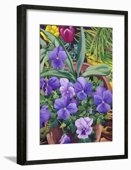 Flowerpots with Pansies, 2007-Christopher Ryland-Framed Premium Giclee Print