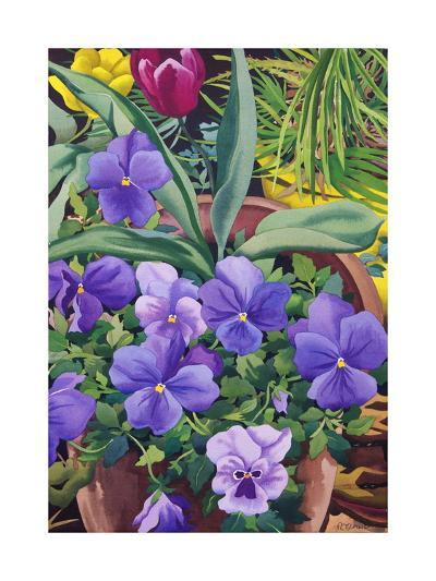 Flowerpots with Pansies, 2007-Christopher Ryland-Giclee Print