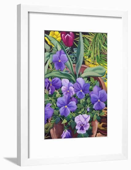 Flowerpots with Pansies, 2007-Christopher Ryland-Framed Giclee Print